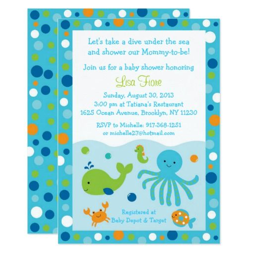 Blue under the sea baby shower card shower invitations and babies blue under the sea baby shower card filmwisefo Images
