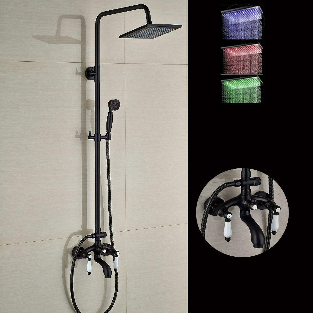 Modern LED Square Rain Shower Head Tub Spout W/ Hand Shower Sprayer ...