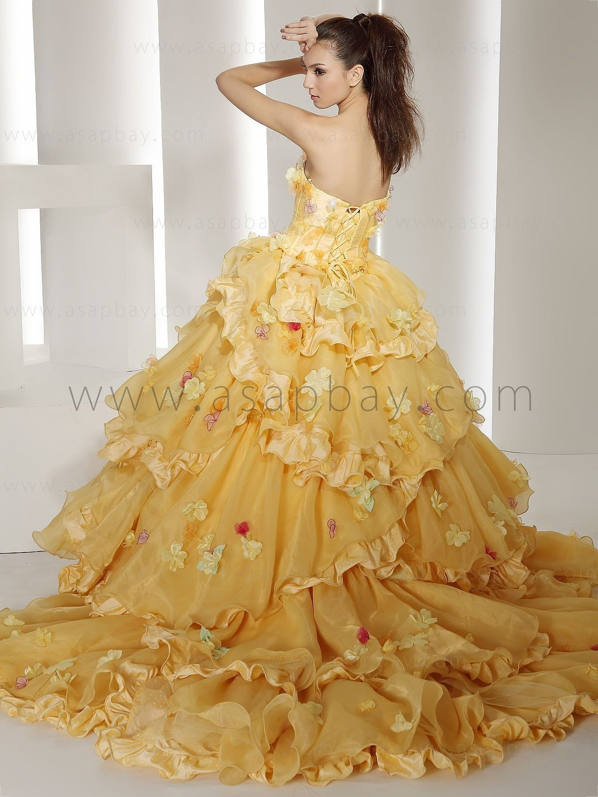 yellow wedding dress - Google Search | Yellow is my first favorite ...