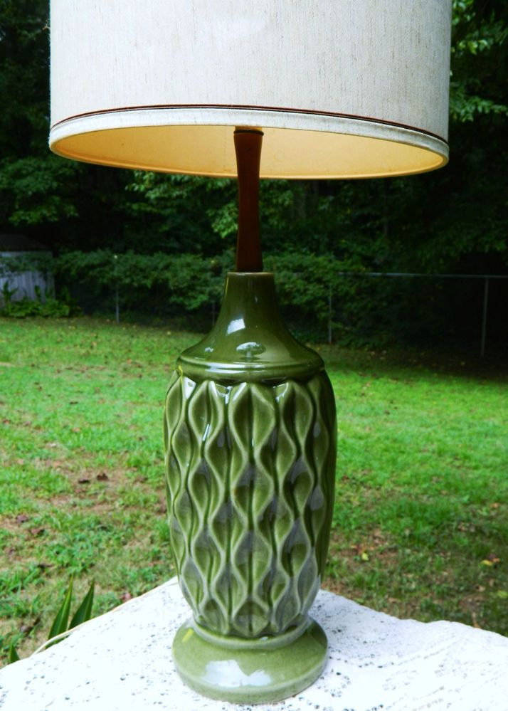 Mid Century Table Lamp 1960u0027s Tall Honeycomb McCoy Weller Other No Shade