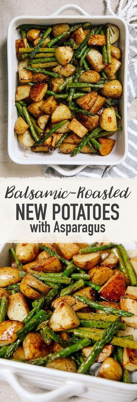 Balsamic Roasted New Potatoes With Asparagus Recipe Recipes Vegan Dinners Asparagus Recipe