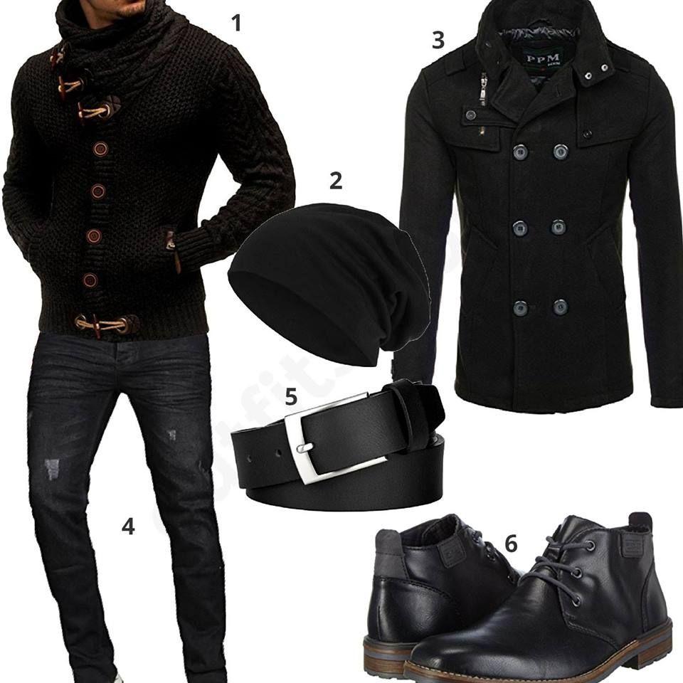 Schwarzes Herrenoutfit mit Pullover und Parka  schwarz  parka  pullover   winter  herbst bd186690d8