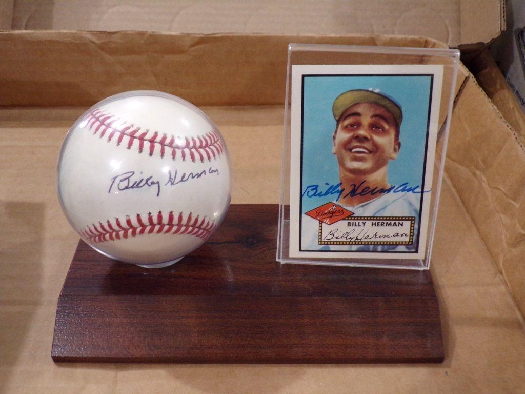 SIGNED BASEBALL & CARD BILLY HERMAN Baseball cards