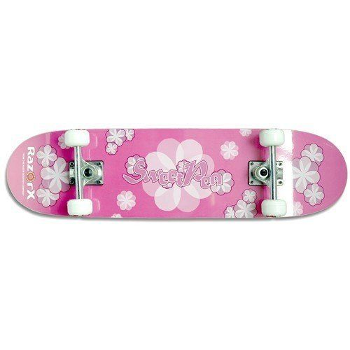 RazorX Sweet Pea Skateboard (31-Inch) by Razor. $44.95. Amazon.com                The Sweet Pea from RazorX is a perfect entry level skateboard for active young girls. It features real wood construction, real aluminum trucks, and real urethane wheels--just like the pros ride. A great value in a pretty package. Manufacturer Warranty: 6 months About Razor USA: Founded in 2000 with the introduction of its now legendary kick scooter which quickly became an essential ride...