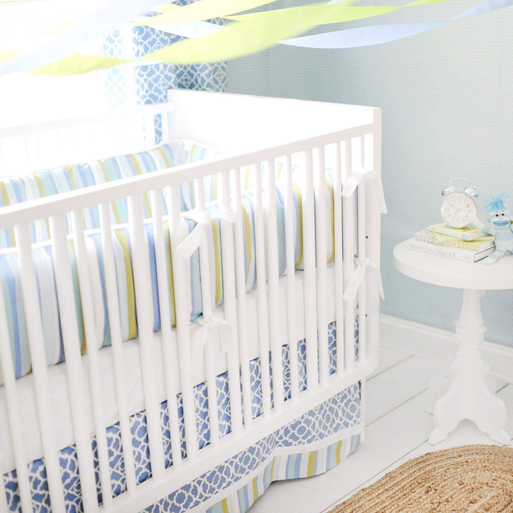 By The Bay Baby Blue White And Green Bedding Set