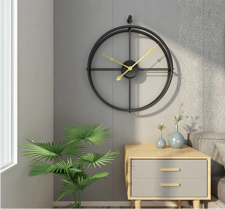 Details about  /Mid-Century Modern Clock Minimalist Wall Decor Contemporary Silver Accent
