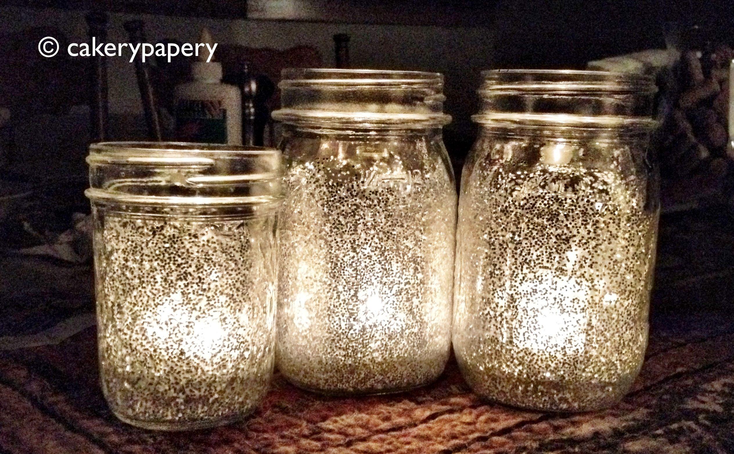 Mason jars with glitter and candle holders i do day for Mason jar holder ideas