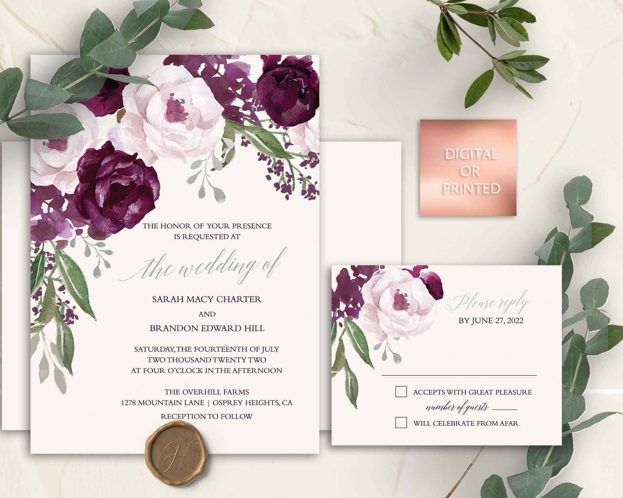 Purple Wedding Invitation Set Plum Wedding Invites Watercolor Floral Digital Or Printed Template Bohemian Floral Wedding Invites Suite In 2020 Purple Wedding Invitations Plum Wedding Invitations Plum Wedding