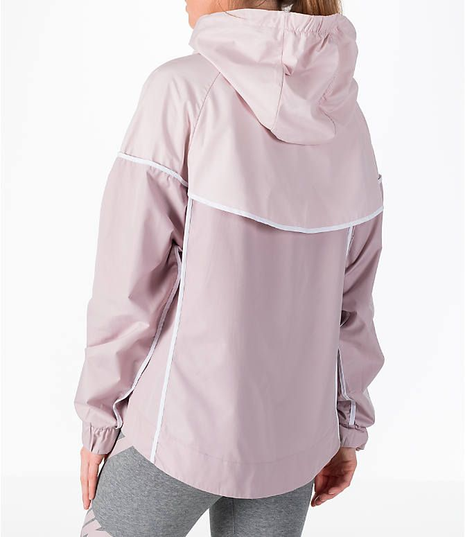 Back Left view of Women s Nike Sportswear Woven Windrunner Jacket in Particle  Rose White 0e4bf4dd0