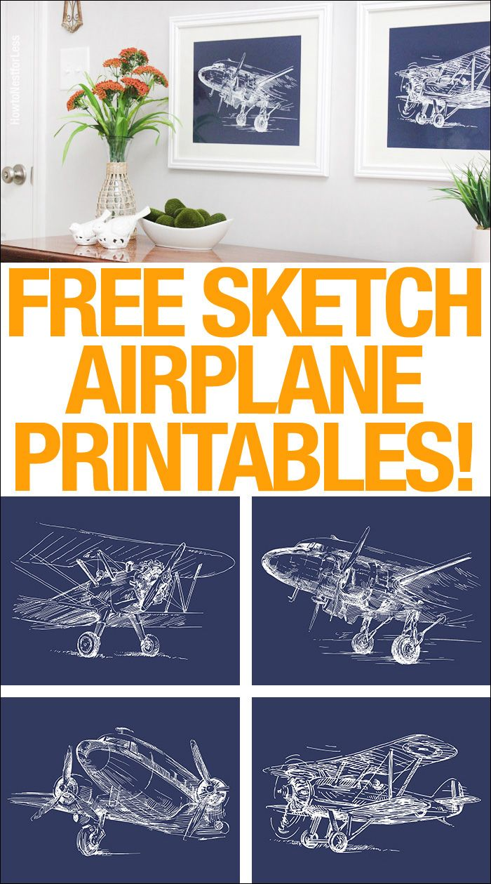 Vintage Sketch Airplane Posters {set of 4 | Airplanes, Free ...