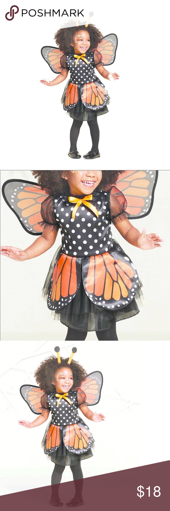 Monarch Butterfly Toddler Girls Costume Size 4T5T NWT