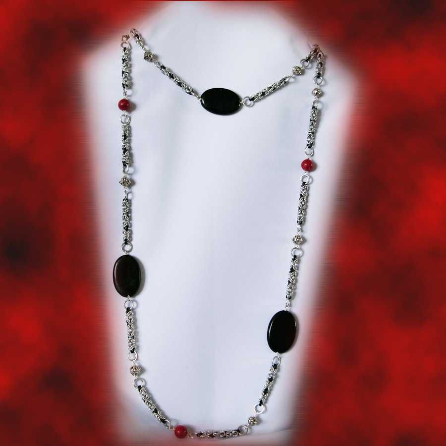 agate onyx coral long necklace