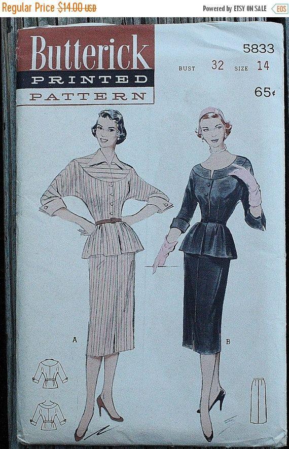 Butterick 5833 1950s 50s Two Piece Dress Peplum Bat Wing Vintage ...