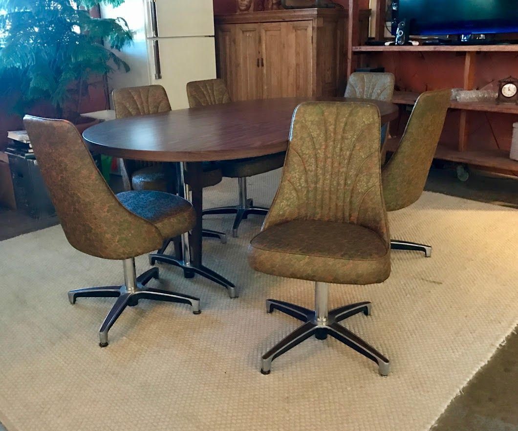 mid century dining table with set of four chromcraft chairs dealer