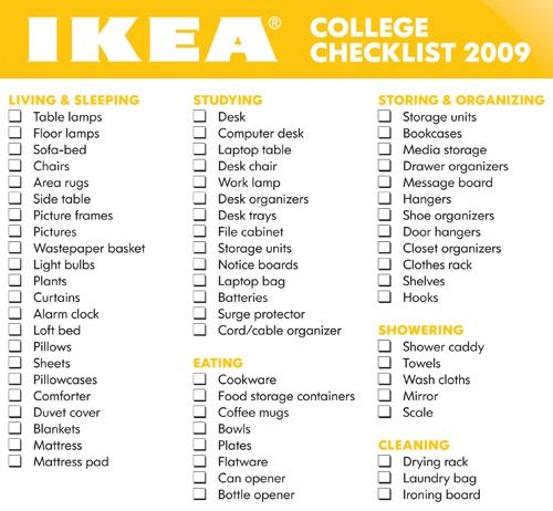Freshman College Dorm Room Essentials Checklists College List - Dorm room essentials