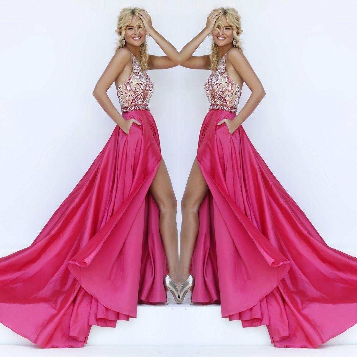 Paisley Beaded Illusion Halter Long Prom Dress by Sherri Hill ...