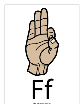 This Printable Features A Sign Language Letter F With A Label