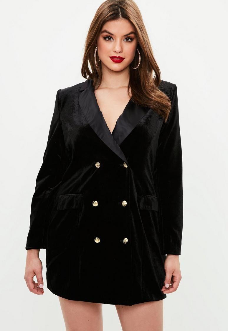 Curve Black Velvet Tuxedo Dress | Plus size outfits, Plus ...