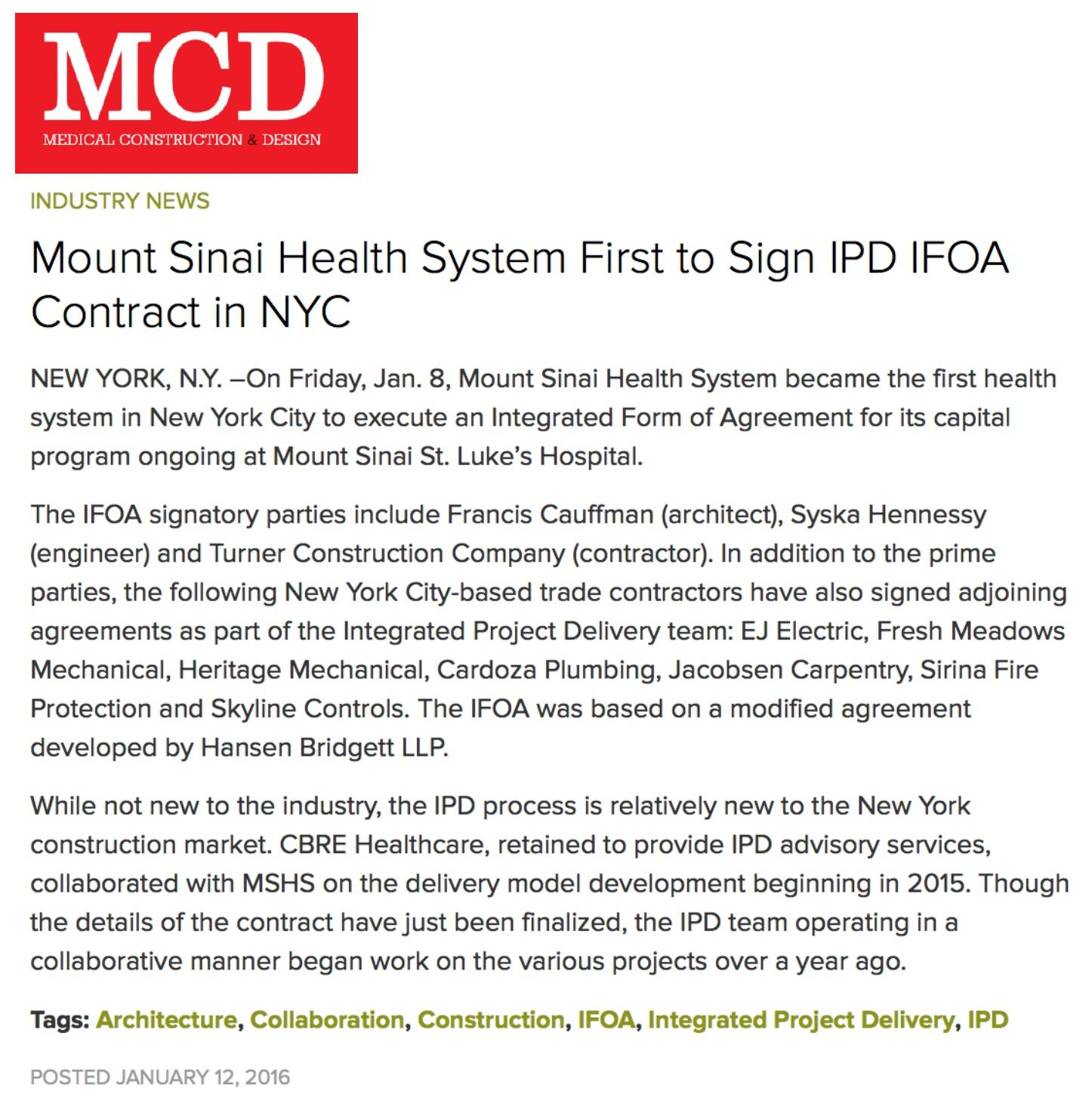 Mount Sinai Health System First To Sign Ipd Ifoa Contract In Nyc
