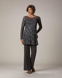 c5b0038a51f Discount Plus Size Wedding Guest Pant Suits Lace Gray Groom Mother of the  Bride…