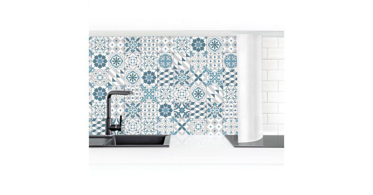 Bilderwelten Küchenrückwand »Geometrischer Fliesenmix Blaugrau« online kaufen | OTTO