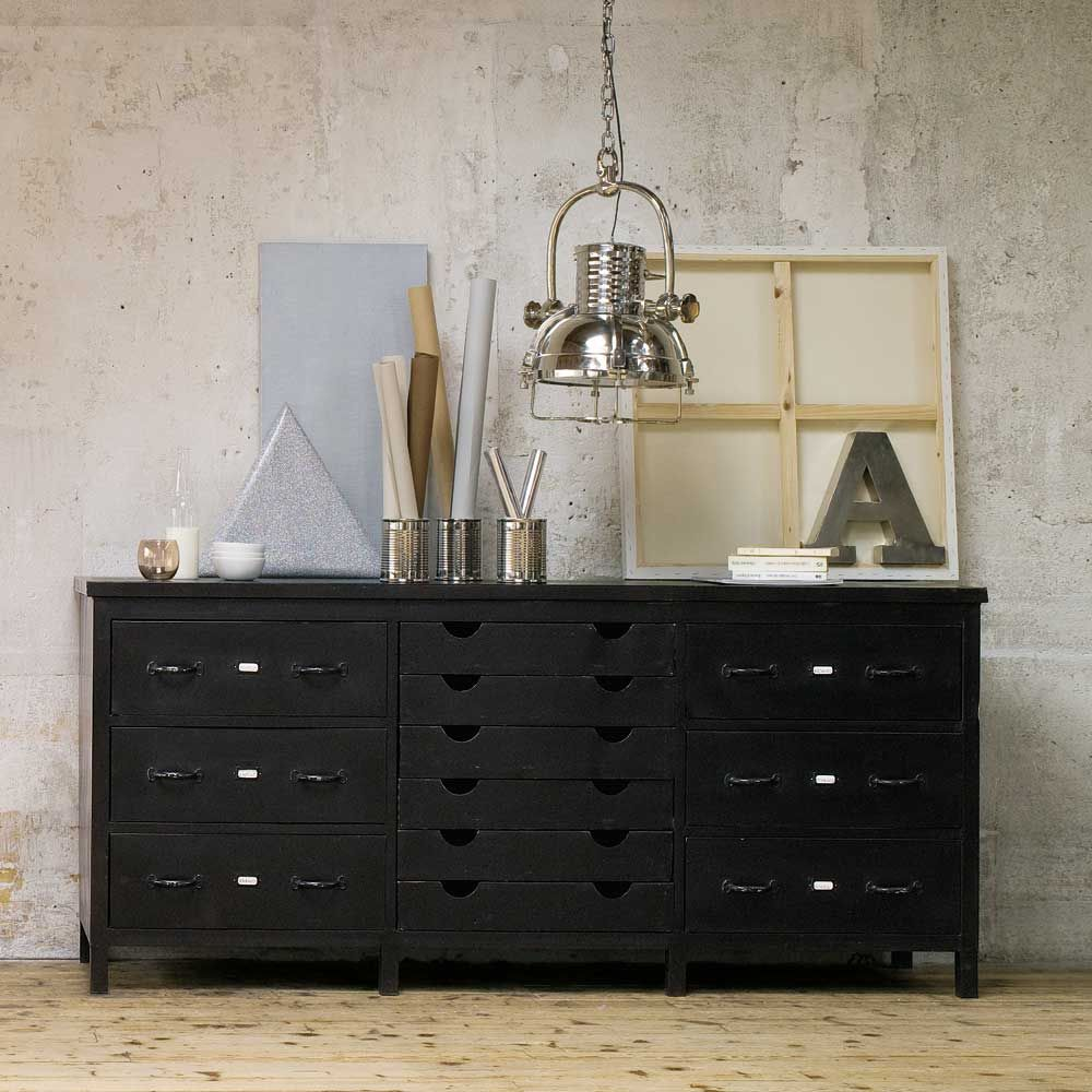 Metal Multi Drawer Industrial Counter Chest In Black W 200cm  # Meuble Metal Maison Du Monde