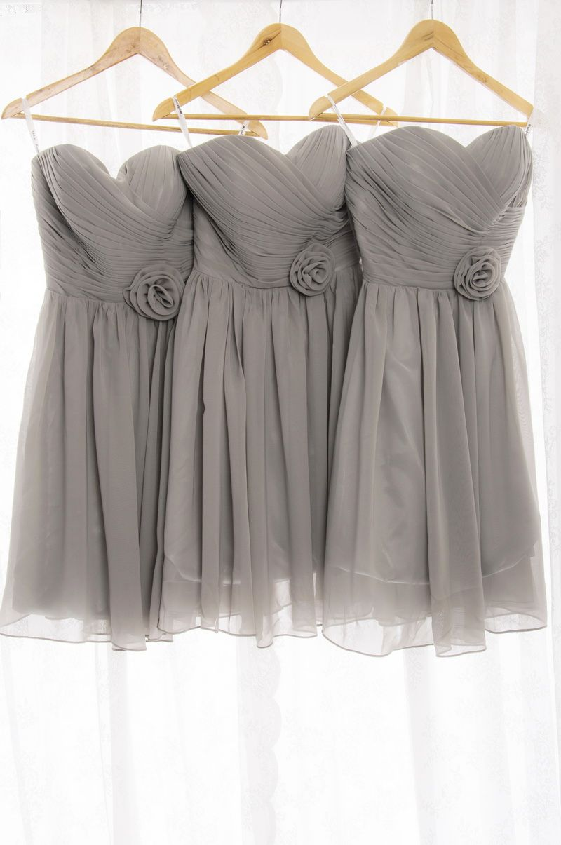 Short pleated sweetheart chiffon gray bridesmaid dresses