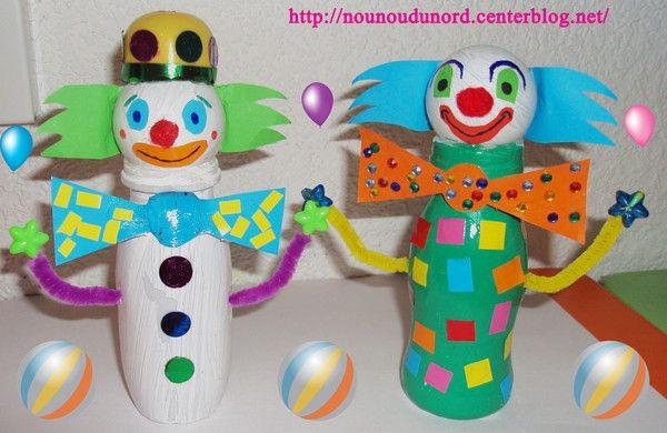 Clown r alis avec une petite bouteille de yaourt boire - Bricolage avec des bouteilles ...