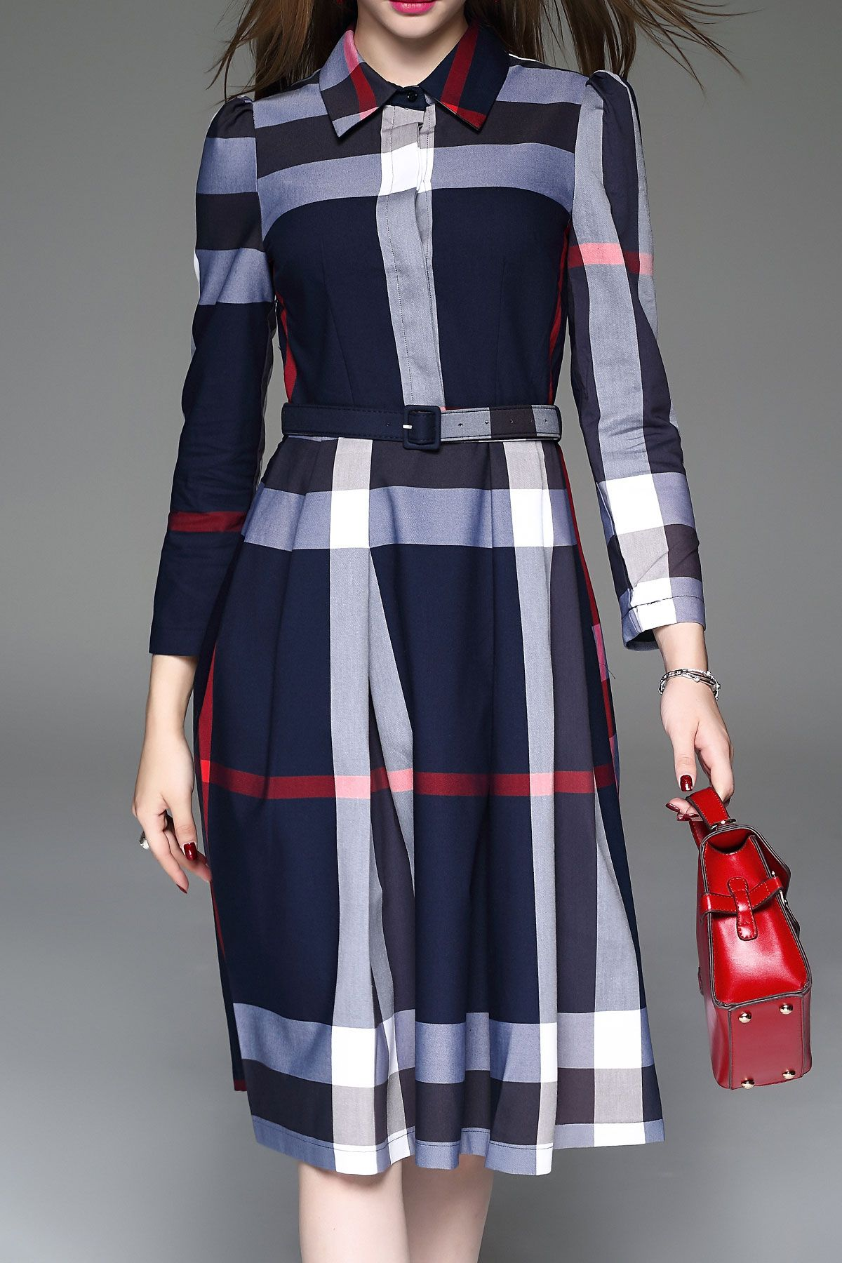 Color Block Plaid Shirt Dress