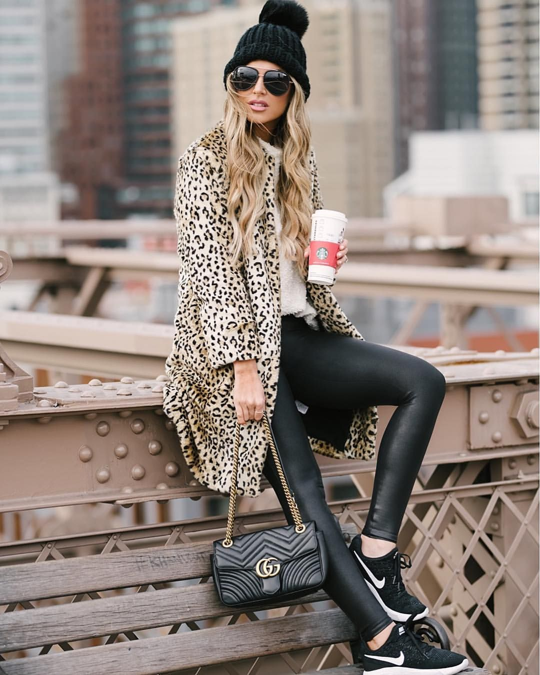 """4,344 Likes, 77 Comments - Hollie Woodward (@holliewdwrd) on Instagram: """"Already missing those NYC views  This leopard coat is so cute and less than $150! Details linked…"""""""