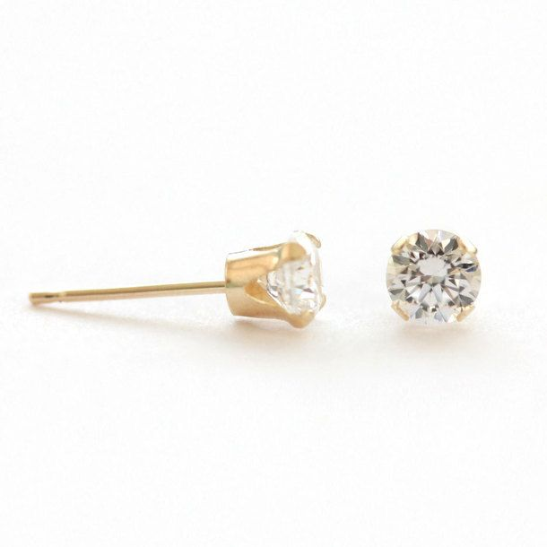 Crystal Studs 14K Gold $73