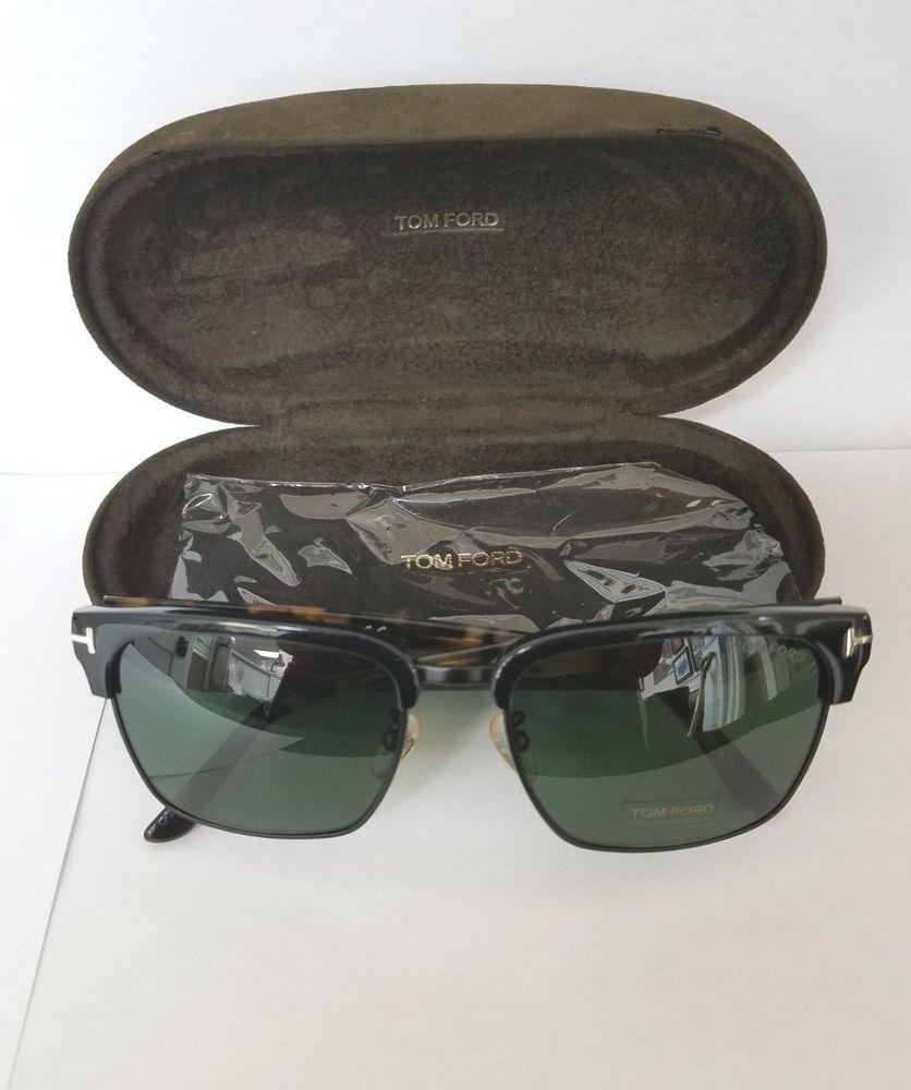 f76e5b8819 Tom Ford River TF 367 02B Matte Black Havana Green Sunglasses Sonnenbrille  57mm