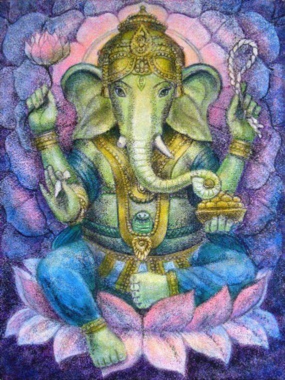 Ganesha Hindu Elephant Buddha Spiritual Art Poster Ganesh Lotus