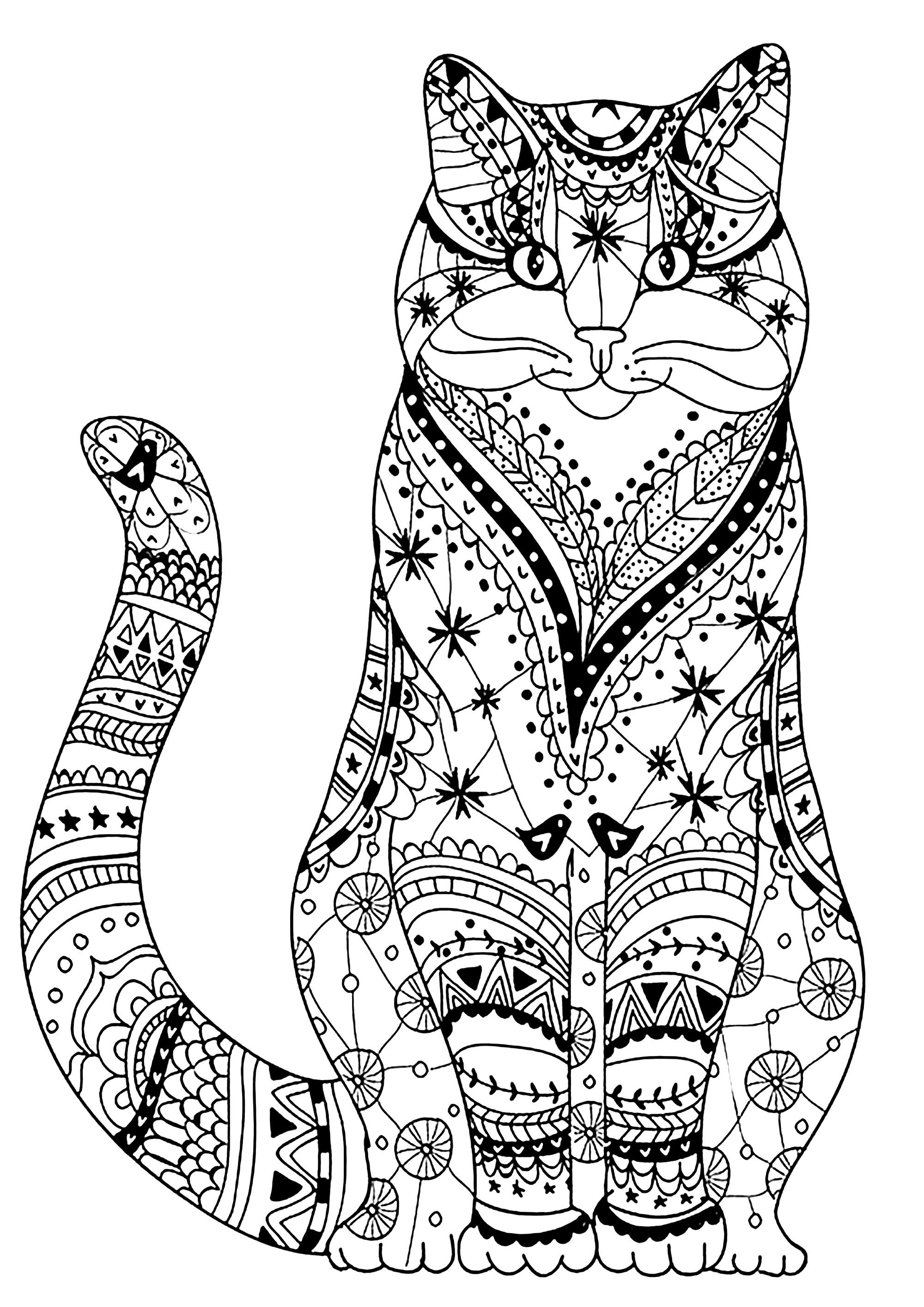 Very Wise Cat Cat Drawn With Zentangles From The Gallery Cats Just Color Discover All O Geometric Coloring Pages Chibi Coloring Pages Cat Coloring Page [ 2828 x 2000 Pixel ]