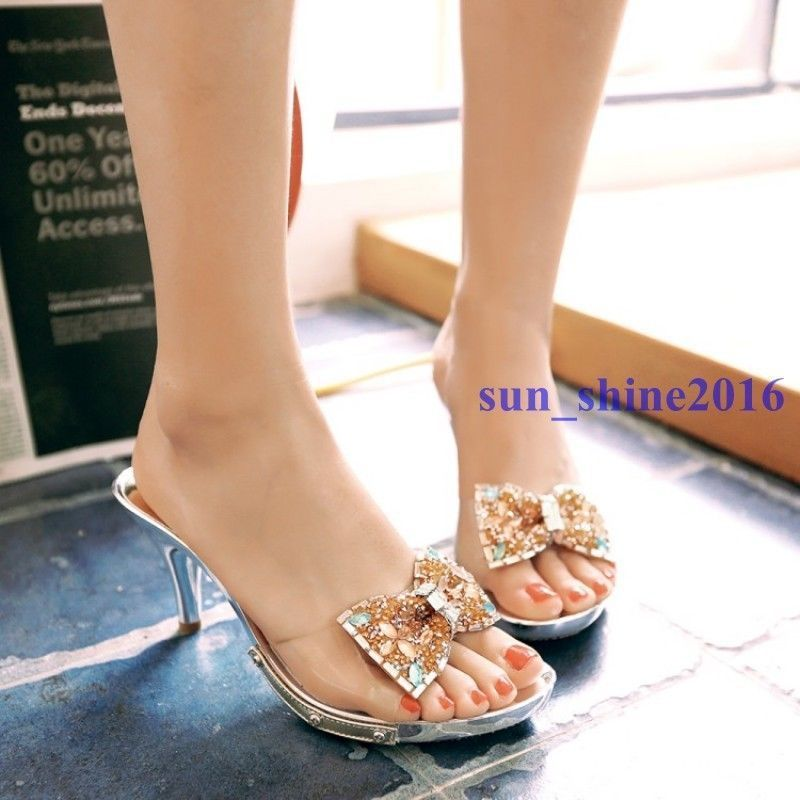 Lady Rhinestone Bowtie Peep Toe Slippers Korean Transparent ...