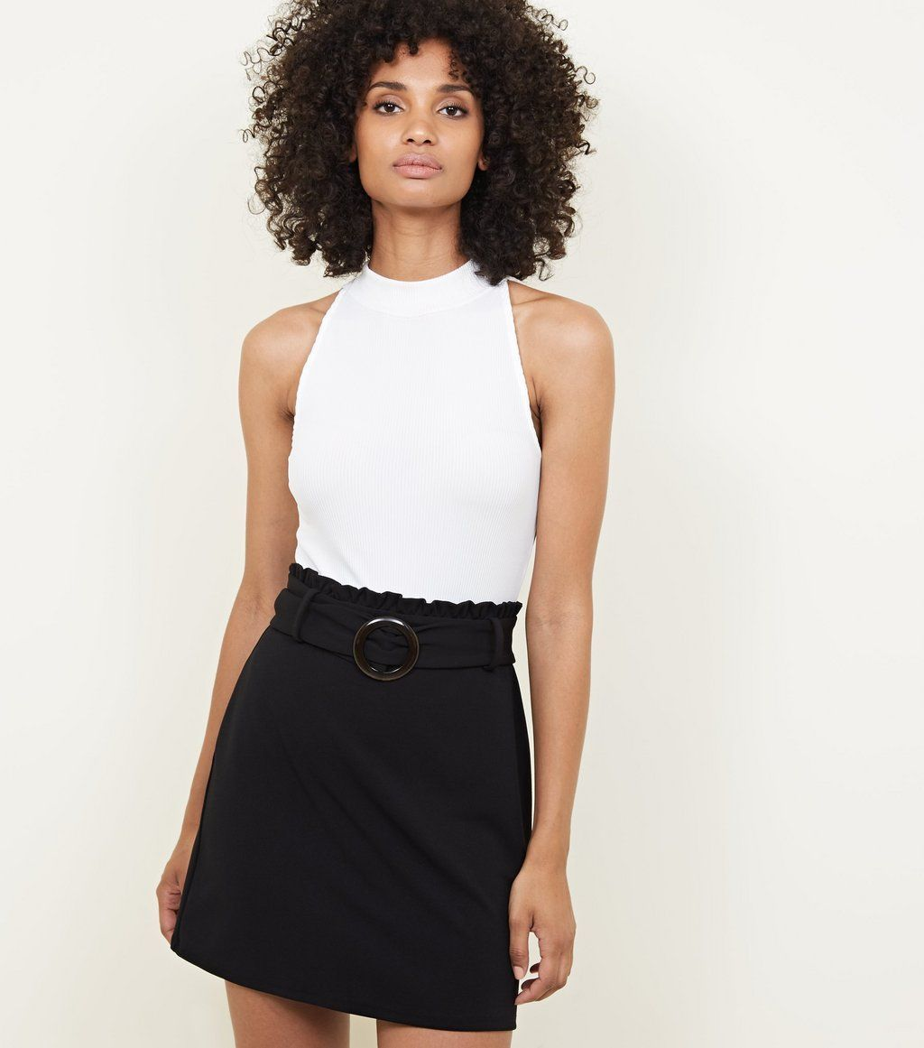 Black faux horn buckle paperbag waist skirt how to make my uniform