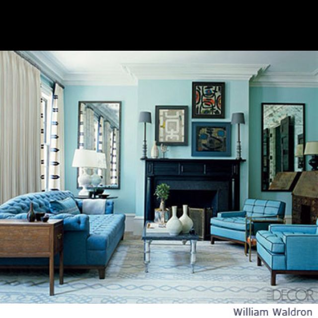 Pale Turquoise Walls Monochromatic Living Room Living Room Turquoise Blue Living Room