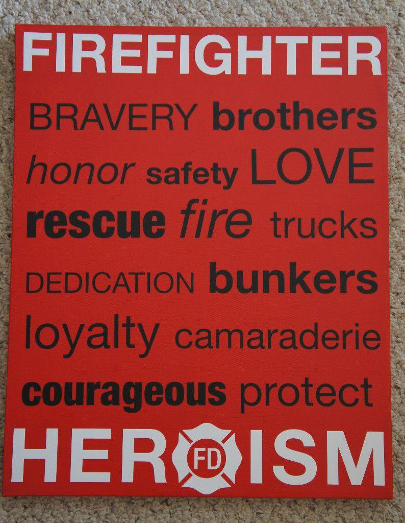 Firefighter Fireman Rescue Subway Art 16x20 Canvas Vinyl Lettering Picture Decor