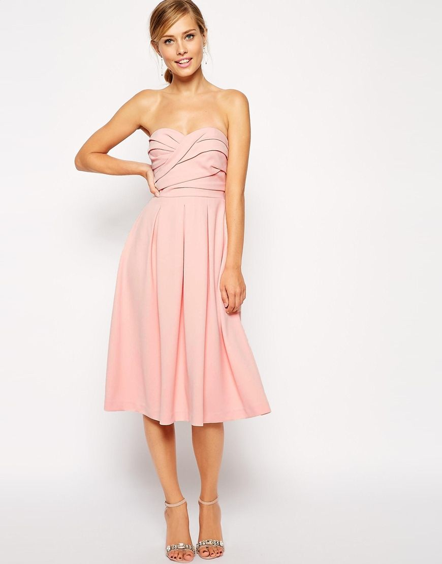 Image 4 of ASOS Bandeau Midi With Twisted Bodice Dress | Carrie: the ...