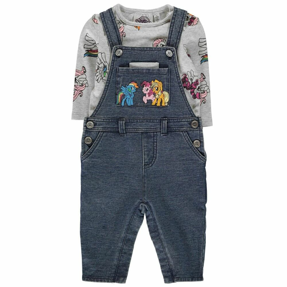 Character Dungeree Set Baby Childrens Dungaree Full Length Sleeve Crew Neck