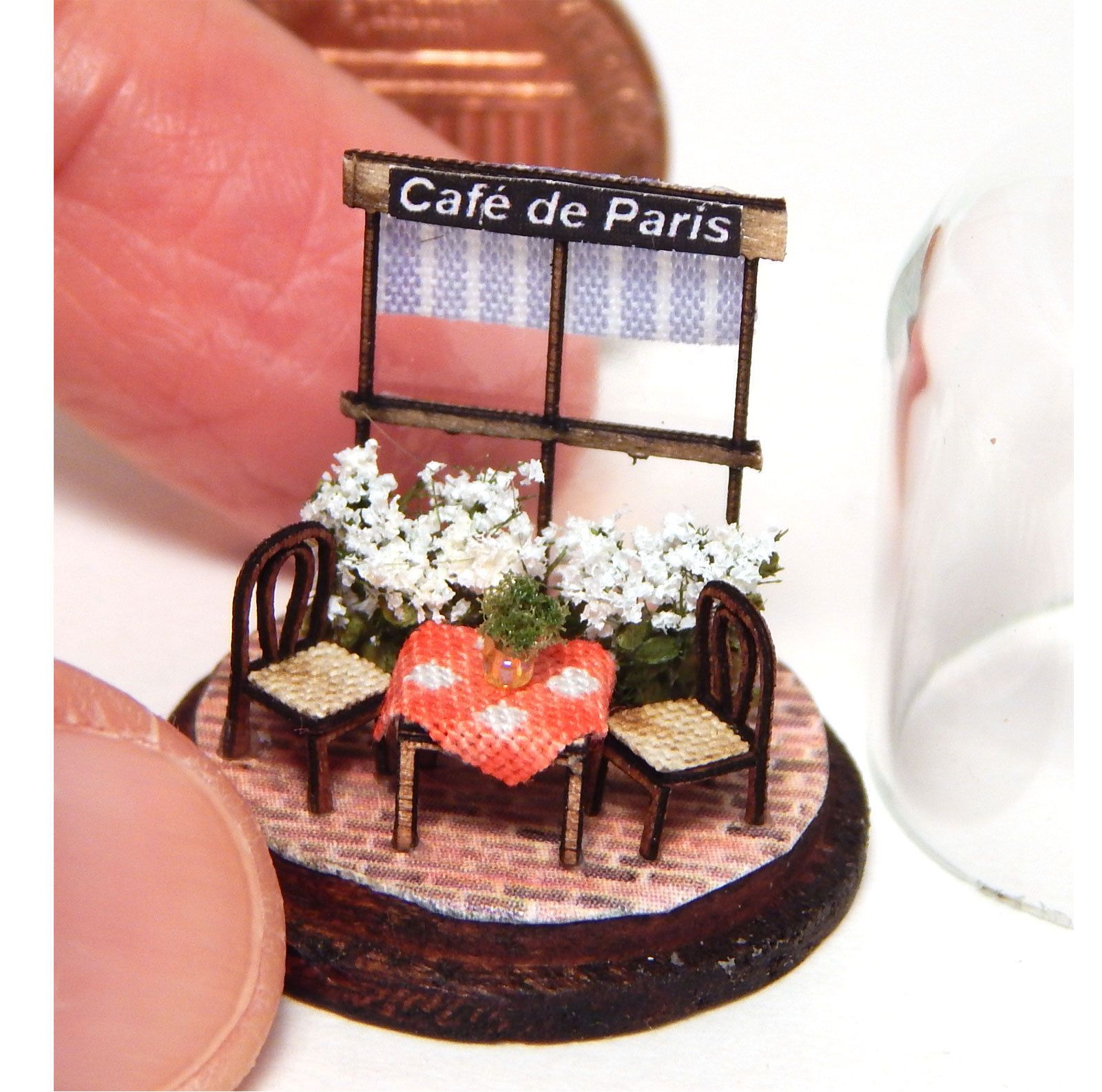 1 144th Scale Miniature Parisian Cafe Scene in Glass Dome Chair