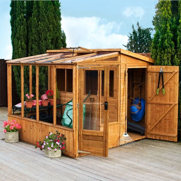 8 X 8 Waltons Tongue And Groove Combi Greenhouse And Wooden Shed  This  Would Be Sweet.