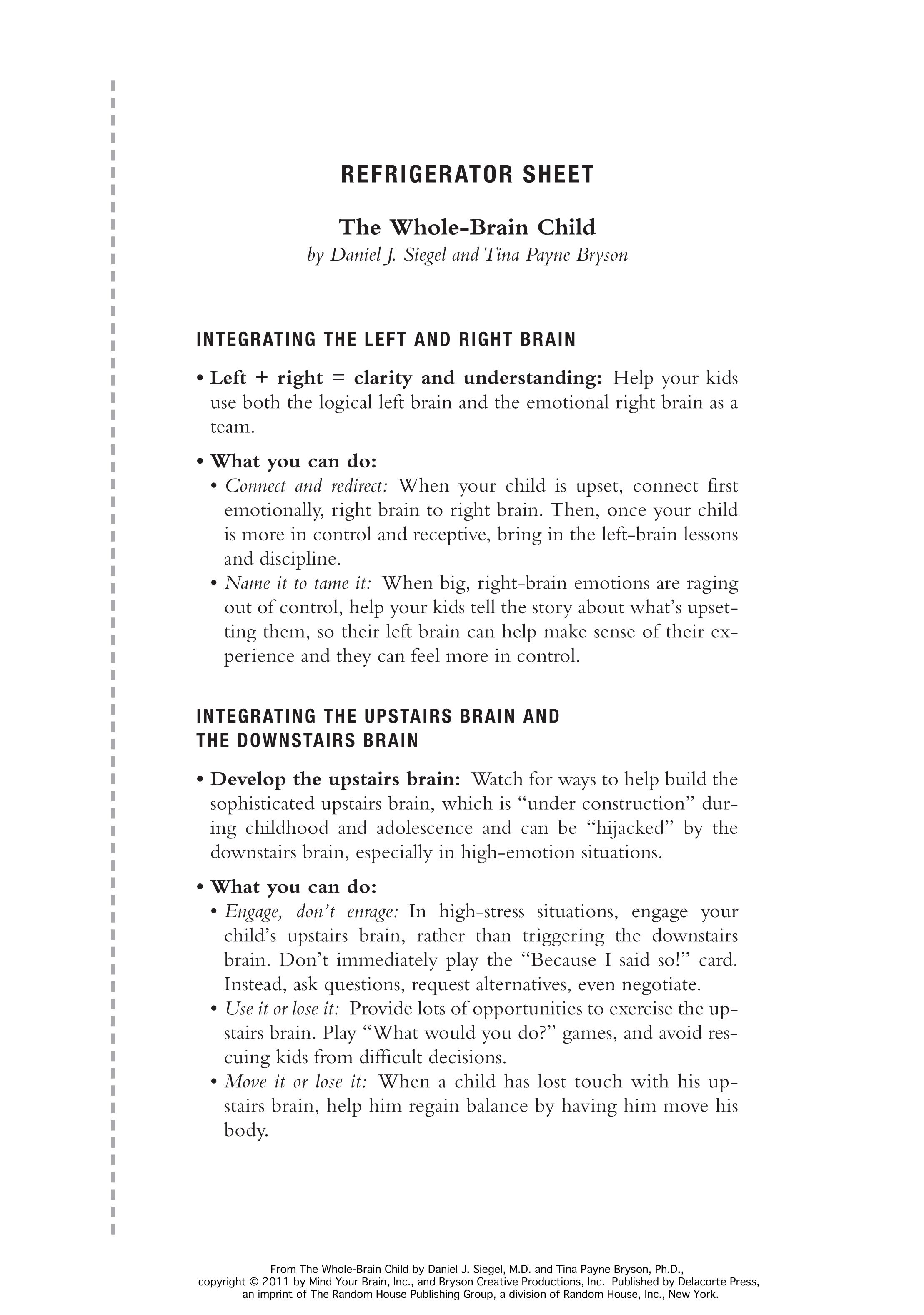 Extended Ebook Content For The Whole Brain Child Refrigerator Sheet