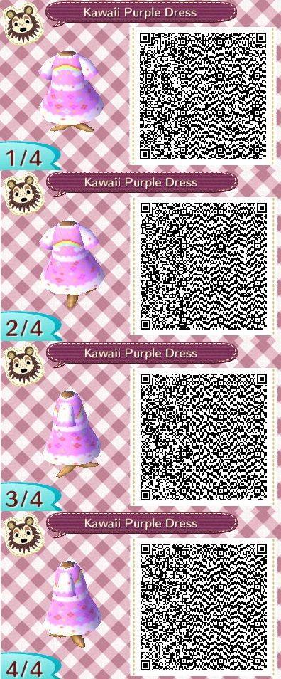 Kawaii Purple Animal Crossing New Leaf QR code dress by Kimmi. Lolita  rainbow dress.