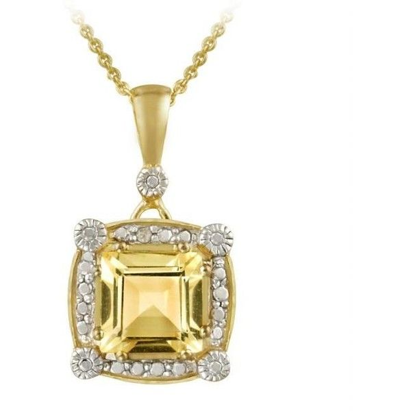 Glitzy Rocks 18k Gold over Silver Citrine and Diamond Necklace ($31) ❤ liked on Polyvore featuring jewelry, necklaces, copper, gold chain necklace, silver pendant necklace, long pendant necklace, gold diamond pendant and gold diamond necklace