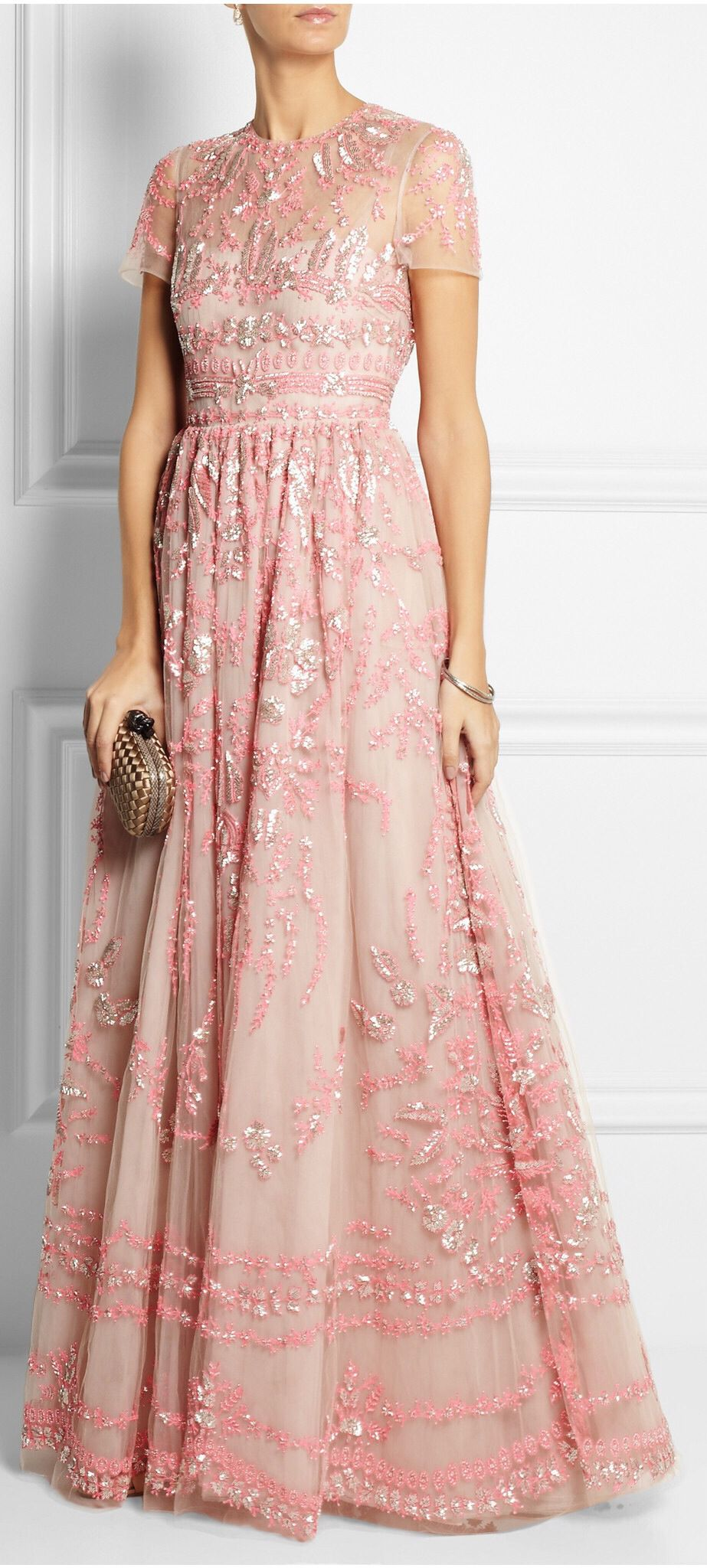 NWT VALENTINO RUNWAY Lace Tulle Embellished Pink Gown IT40 US4 ...