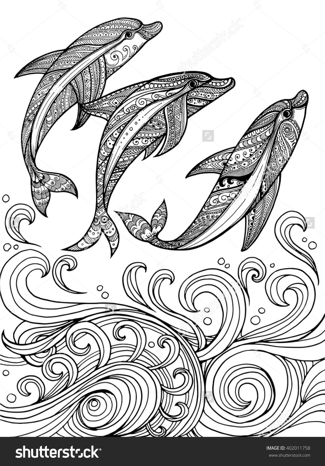 Free coloring pages dolphins - Zentangle Dolphins In Scrolling Sea Wave For Adult Coloring Page