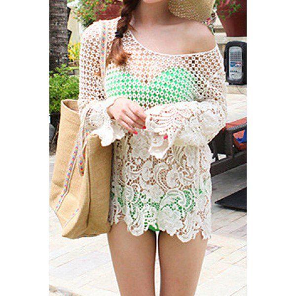 Sexy Scoop Neck Crochet Flower Hollow Out Long Sleeve Women's Blouse
