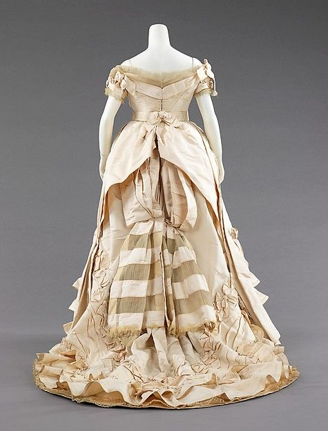 Ball gown (image 3)   Attributed to House of Worth   probably French   1872   silk   Brooklyn Museum Costume Collection at The Metropolitan Museum of Art   Accession Number: 2009.300.339a–c