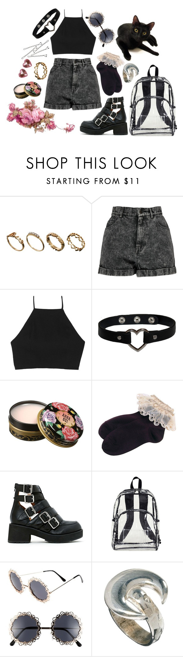 """""""dark nymphet"""" by pastelmuffin ❤ liked on Polyvore featuring ASOS, Boohoo, rag & bone, BOBBY, Anna Sui, Fantas-Eyes, Bloody Mary Metal, Full Tilt, croptop and 90s"""